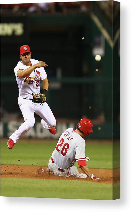 St. Louis Cardinals Canvas Print featuring the photograph Chase Utley and Jhonny Peralta by Dilip Vishwanat