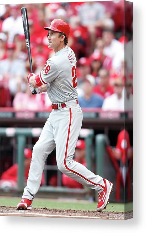 Great American Ball Park Canvas Print featuring the photograph Chase Utley by Joe Robbins