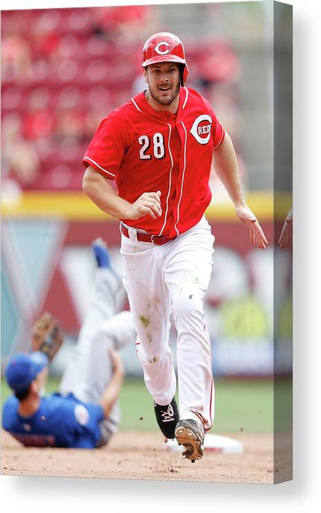 Great American Ball Park Canvas Print featuring the photograph Chris Heisey by Joe Robbins