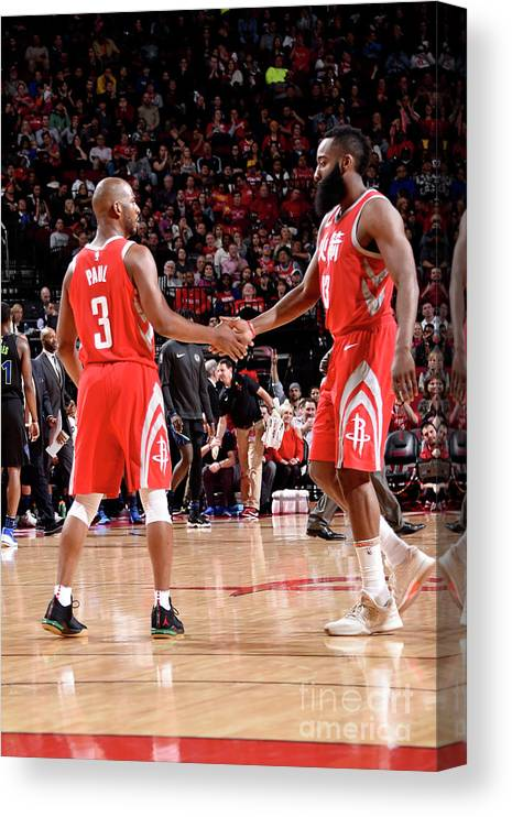 Nba Pro Basketball Canvas Print featuring the photograph Chris Paul and James Harden by Bill Baptist