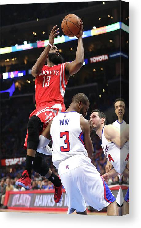 Playoffs Canvas Print featuring the photograph Chris Paul and James Harden by Stephen Dunn