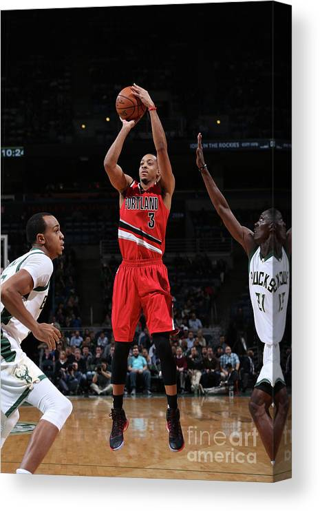 Nba Pro Basketball Canvas Print featuring the photograph C.j. Mccollum by Gary Dineen