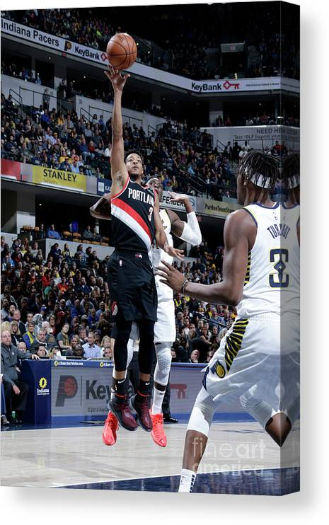 Nba Pro Basketball Canvas Print featuring the photograph C.j. Mccollum by Ron Hoskins