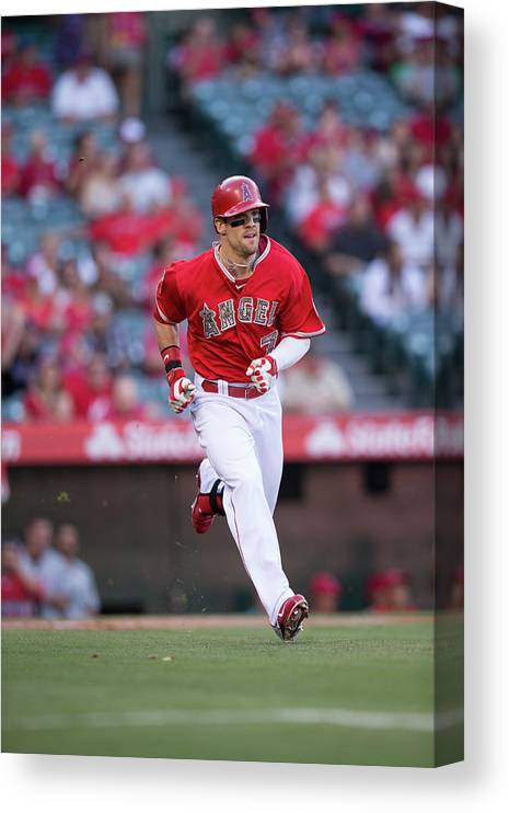 American League Baseball Canvas Print featuring the photograph Collin Cowgill by Paul Spinelli