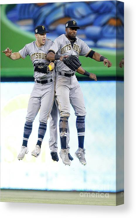 People Canvas Print featuring the photograph Corey Dickerson, Starling Marte, and Gregory Polanco by Michael Reaves