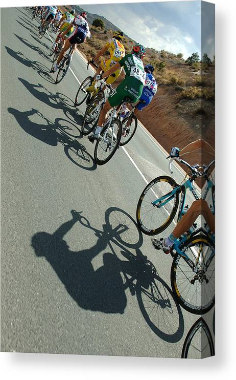 Shadow Canvas Print featuring the photograph Cycling : Tour Of Spain / Stage 13 by Tim de Waele