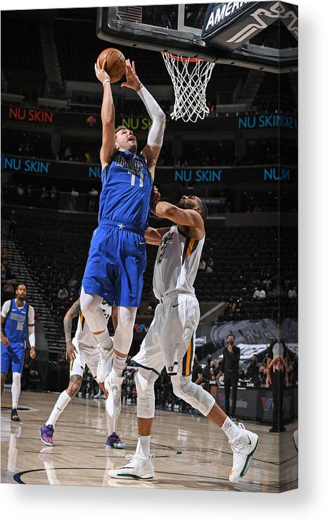 Nba Pro Basketball Canvas Print featuring the photograph Dallas Mavericks v Utah Jazz by Garrett Ellwood