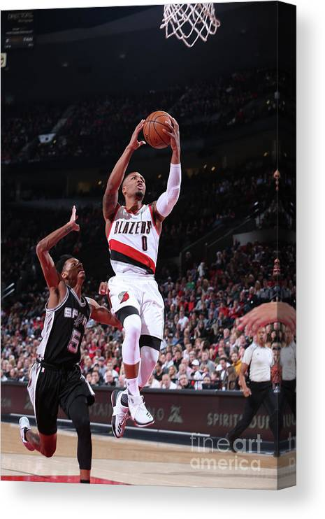 Nba Pro Basketball Canvas Print featuring the photograph Damian Lillard and Dejounte Murray by Sam Forencich