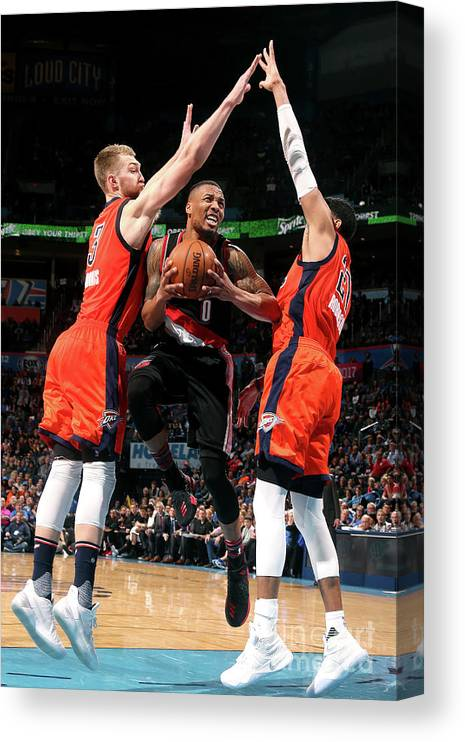 Nba Pro Basketball Canvas Print featuring the photograph Damian Lillard by Layne Murdoch