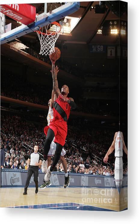 Nba Pro Basketball Canvas Print featuring the photograph Damian Lillard by Nathaniel S. Butler