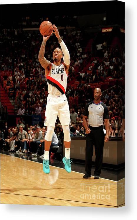 Nba Pro Basketball Canvas Print featuring the photograph Damian Lillard by Oscar Baldizon