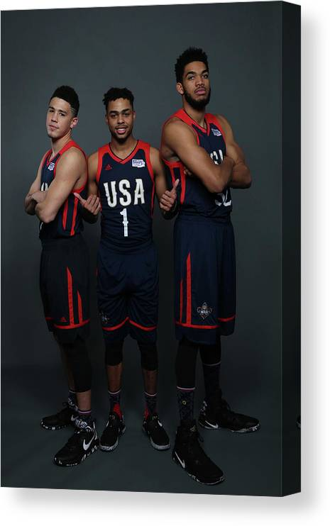 Smoothie King Center Canvas Print featuring the photograph D'angelo Russell and Devin Booker by Gary Dineen