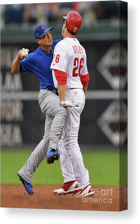 Double Play Canvas Print featuring the photograph Darwin Barney and Chase Utley by Drew Hallowell