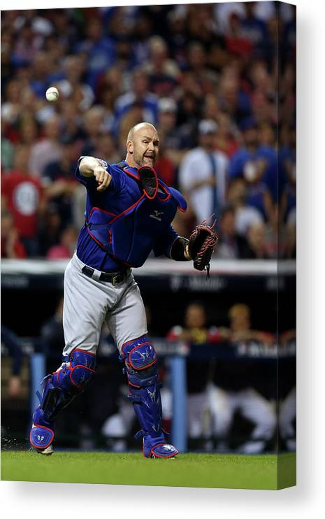 Playoffs Canvas Print featuring the photograph David Ross by Brad Mangin