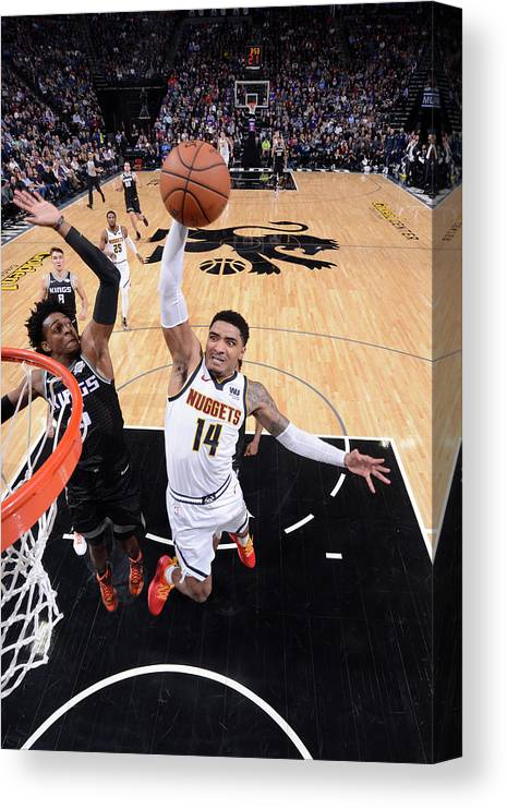 Nba Pro Basketball Canvas Print featuring the photograph De'aaron Fox and Gary Harris by Rocky Widner