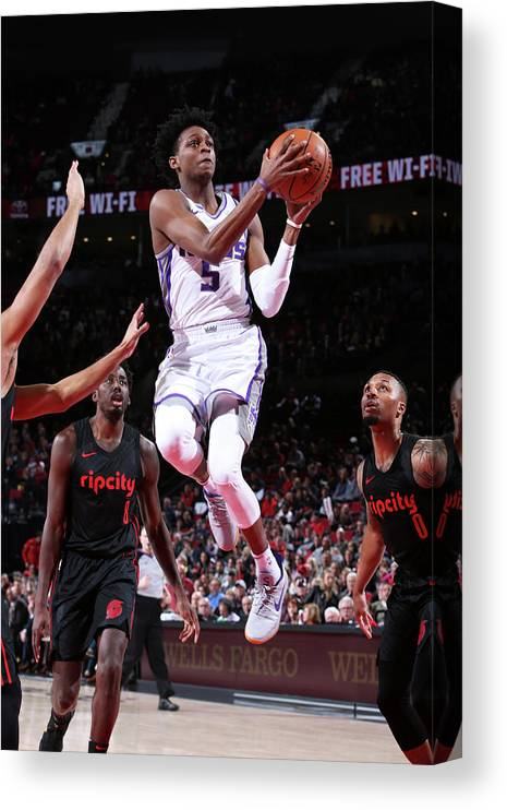 Nba Pro Basketball Canvas Print featuring the photograph De'aaron Fox by Sam Forencich