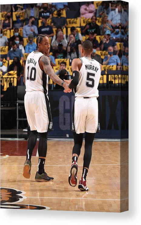 Nba Pro Basketball Canvas Print featuring the photograph Demar Derozan and Dejounte Murray by Joe Murphy