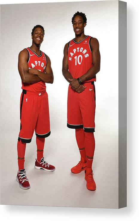 Media Day Canvas Print featuring the photograph Demar Derozan and Kyle Lowry by Ron Turenne