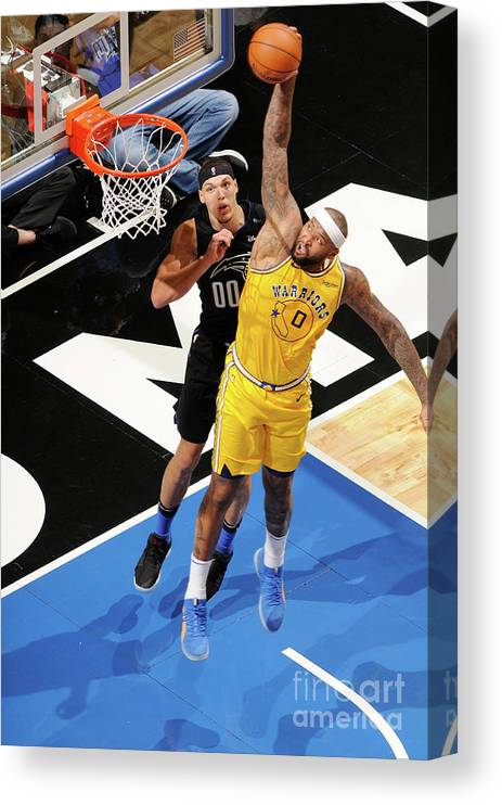 Nba Pro Basketball Canvas Print featuring the photograph Demarcus Cousins and Aaron Gordon by Fernando Medina