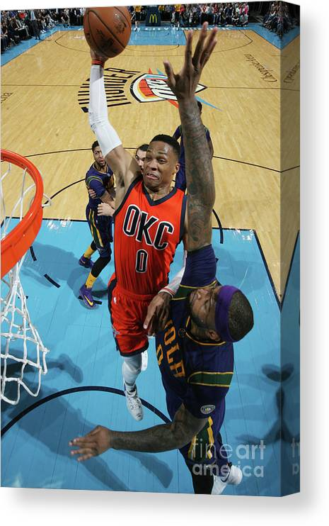 Nba Pro Basketball Canvas Print featuring the photograph Demarcus Cousins and Russell Westbrook by Layne Murdoch