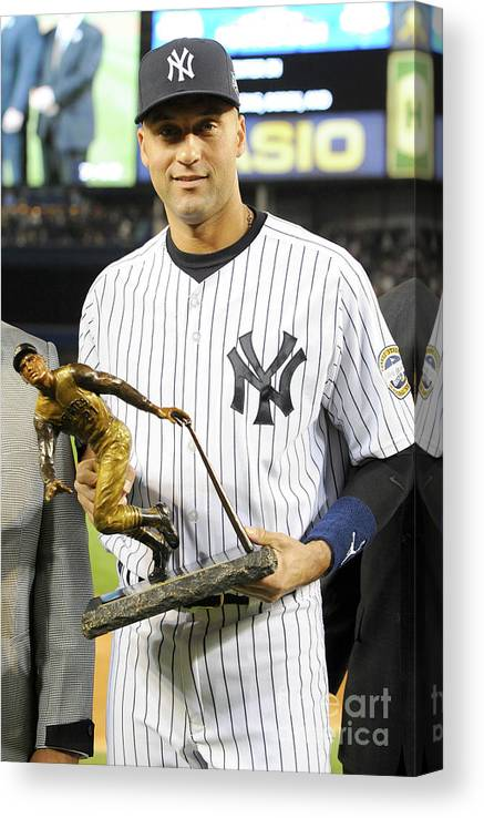 Game Two Canvas Print featuring the photograph Derek Jeter by Rich Pilling