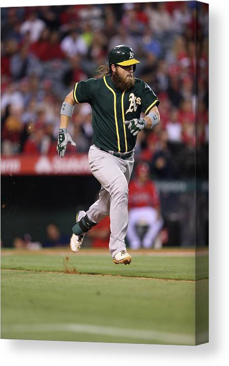 American League Baseball Canvas Print featuring the photograph Derek Norris by Paul Spinelli
