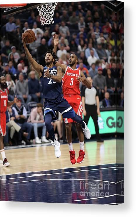 Nba Pro Basketball Canvas Print featuring the photograph Derrick Rose and Chris Paul by Jordan Johnson