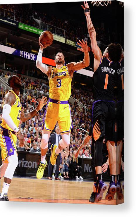 Nba Pro Basketball Canvas Print featuring the photograph Devin Booker and Josh Hart by Barry Gossage