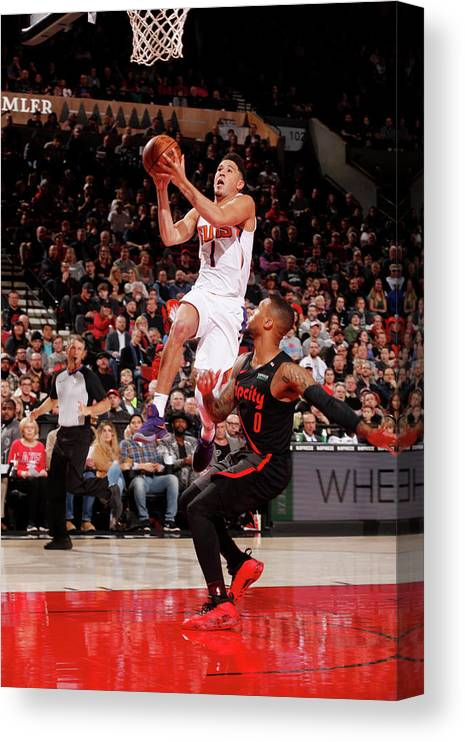 Nba Pro Basketball Canvas Print featuring the photograph Devin Booker by Cameron Browne