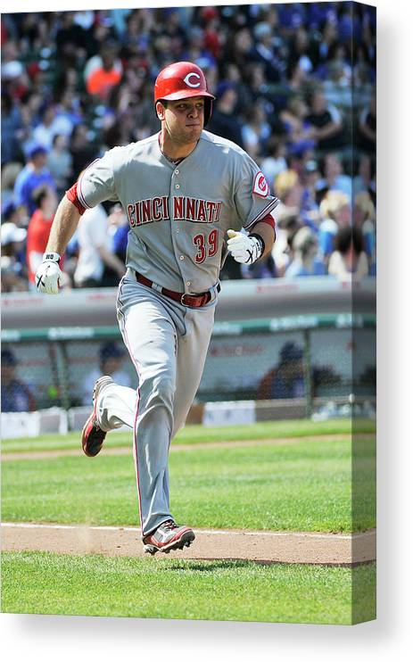 Devin Mesoraco Canvas Print featuring the photograph Devin Mesoraco by David Banks