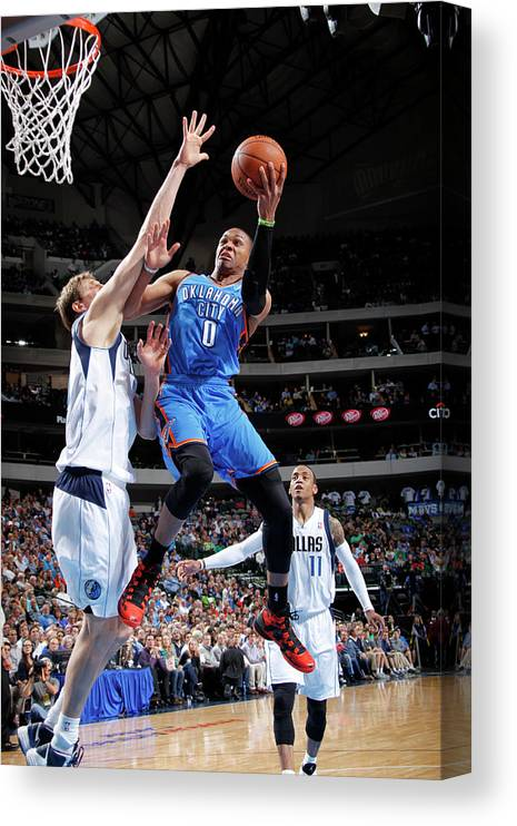 Nba Pro Basketball Canvas Print featuring the photograph Dirk Nowitzki and Russell Westbrook by Glenn James