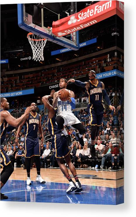 Nba Pro Basketball Canvas Print featuring the photograph D.j. Augustin by Gary Bassing