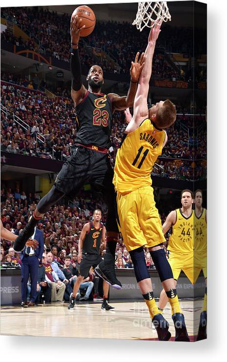 Playoffs Canvas Print featuring the photograph Domantas Sabonis and Lebron James by David Liam Kyle