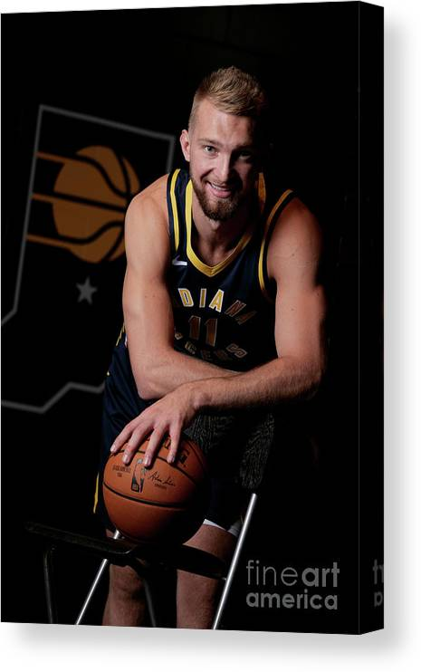 Media Day Canvas Print featuring the photograph Domantas Sabonis by Ron Hoskins