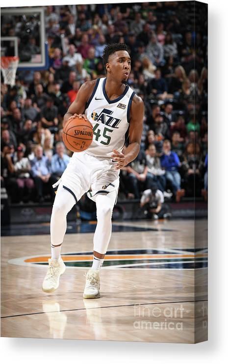 Nba Pro Basketball Canvas Print featuring the photograph Donovan Mitchell by Garrett Ellwood