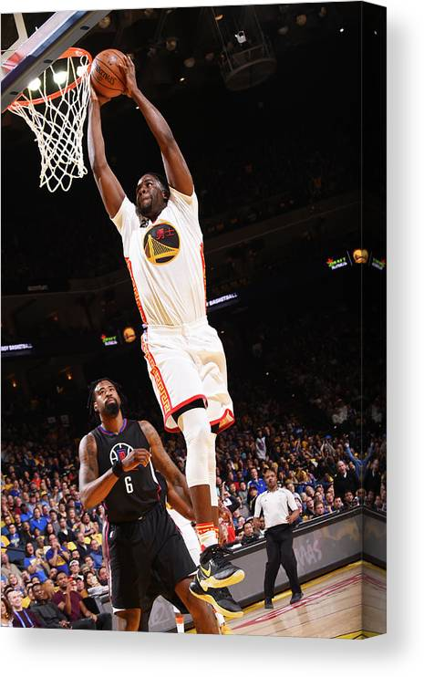 Nba Pro Basketball Canvas Print featuring the photograph Draymond Green and Deandre Jordan by Noah Graham