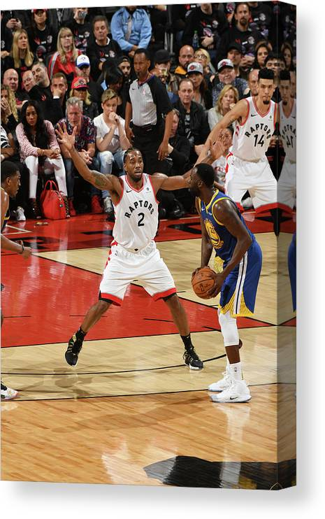 Playoffs Canvas Print featuring the photograph Draymond Green and Kawhi Leonard by Ron Turenne