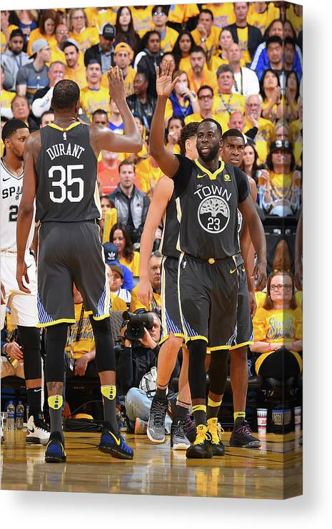 Playoffs Canvas Print featuring the photograph Draymond Green and Kevin Durant by Andrew D. Bernstein