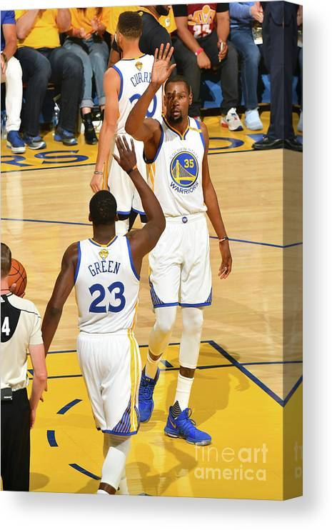 Playoffs Canvas Print featuring the photograph Draymond Green and Kevin Durant by Jesse D. Garrabrant