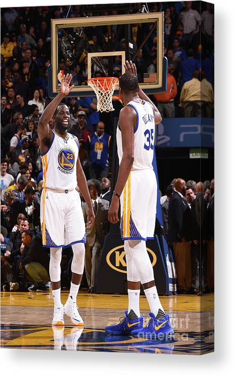 Nba Pro Basketball Canvas Print featuring the photograph Draymond Green and Kevin Durant by Noah Graham