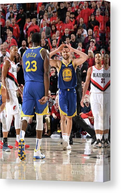 Nba Pro Basketball Canvas Print featuring the photograph Draymond Green and Klay Thompson by Andrew D. Bernstein