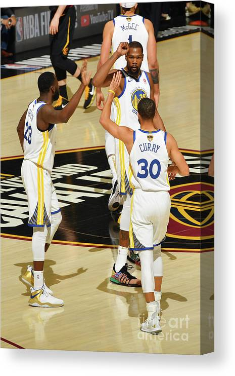 Playoffs Canvas Print featuring the photograph Draymond Green, Stephen Curry, and Kevin Durant by Jesse D. Garrabrant