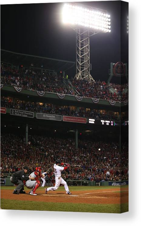Playoffs Canvas Print featuring the photograph Dustin Pedroia by Brad Mangin