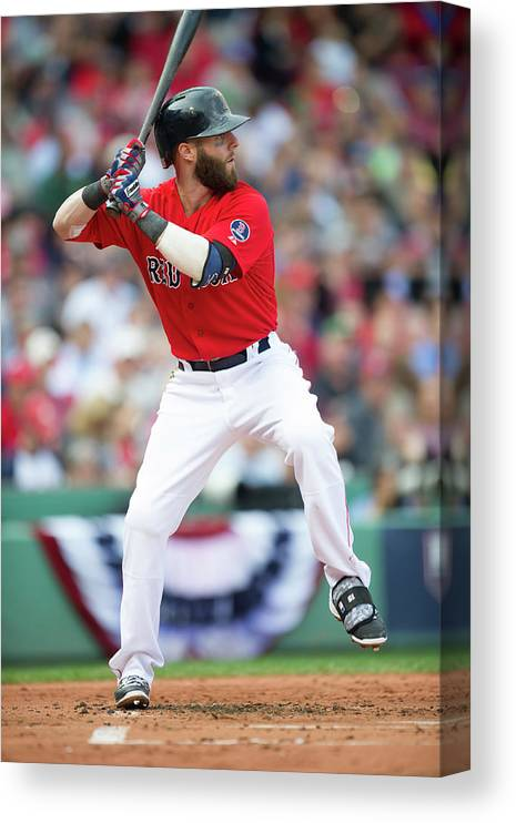 Playoffs Canvas Print featuring the photograph Dustin Pedroia by Rob Tringali