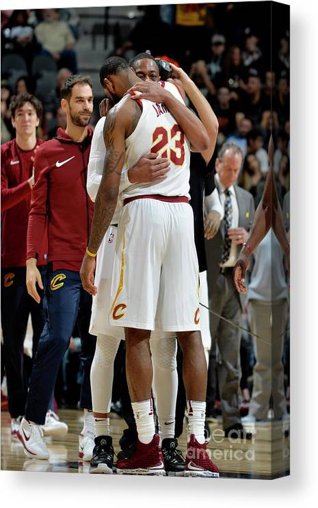 Nba Pro Basketball Canvas Print featuring the photograph Dwyane Wade and Lebron James by Mark Sobhani