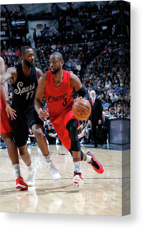 Nba Pro Basketball Canvas Print featuring the photograph Dwyane Wade by Chris Covatta