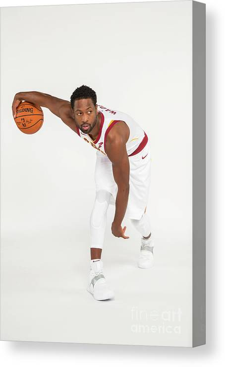 Media Day Canvas Print featuring the photograph Dwyane Wade by Michael J. Lebrecht Ii