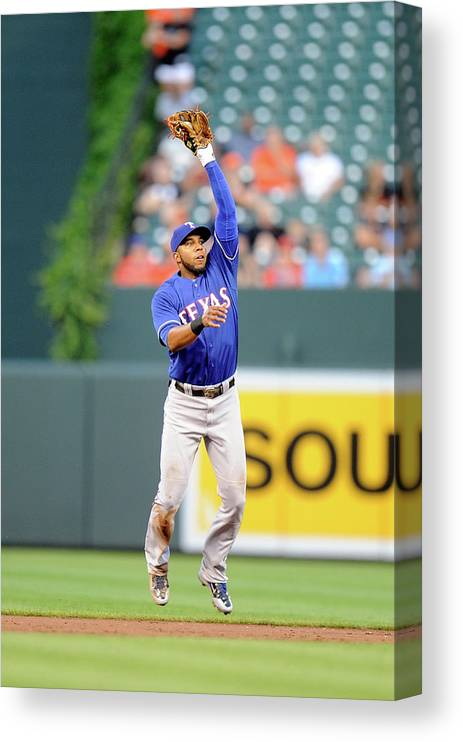 Second Inning Canvas Print featuring the photograph Elvis Andrus and Ryan Flaherty by Greg Fiume