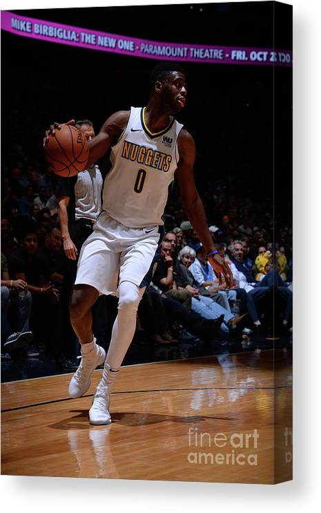 Nba Pro Basketball Canvas Print featuring the photograph Emmanuel Mudiay by Bart Young
