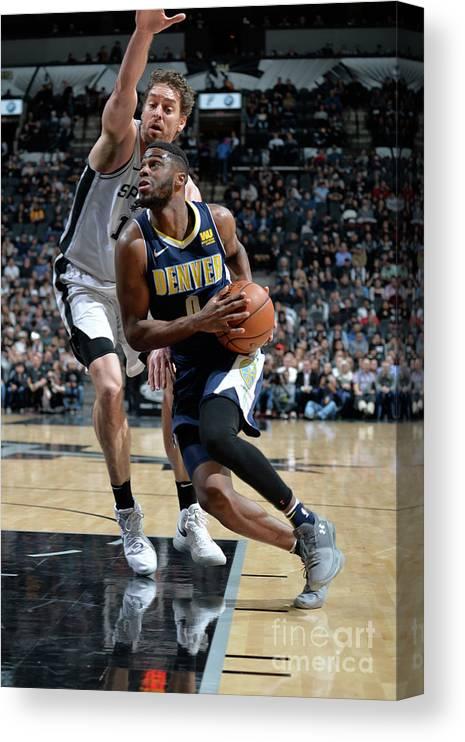 Nba Pro Basketball Canvas Print featuring the photograph Emmanuel Mudiay by Mark Sobhani